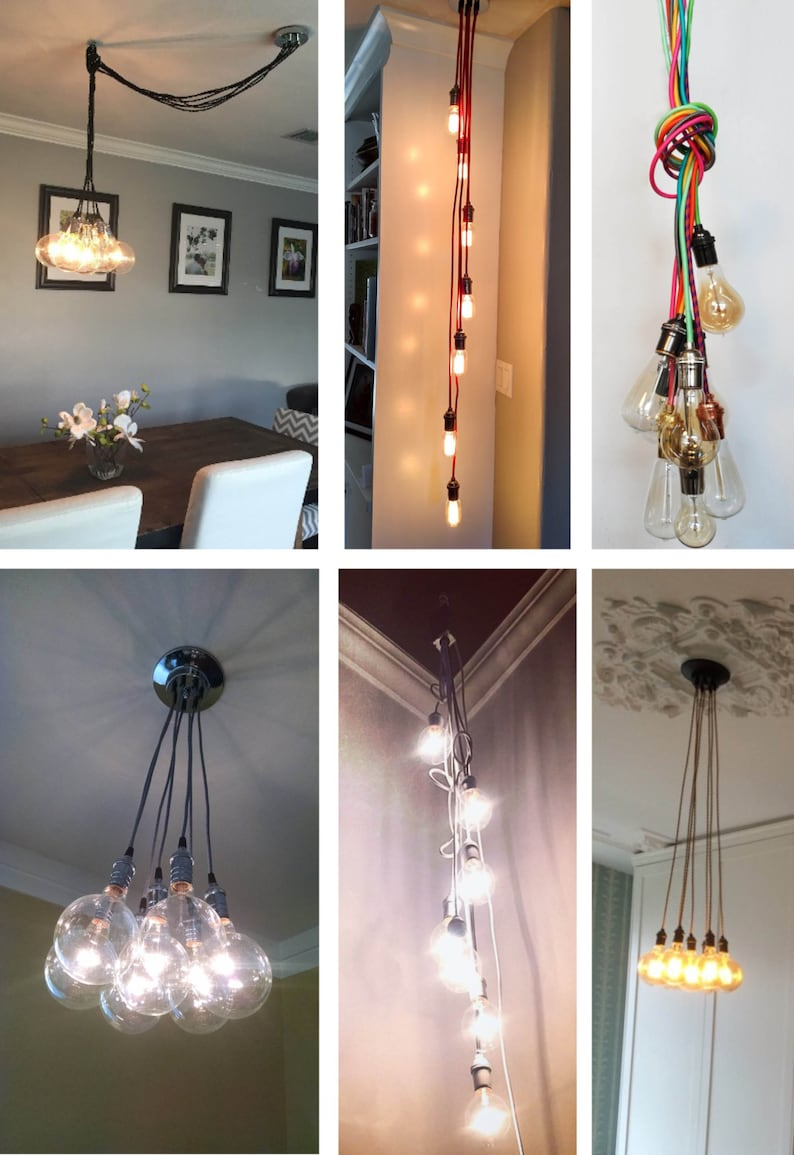 7 cluster custom any colors chandelier multi pendant lighting modern cloth cords pendant light ceiling fixture lamp