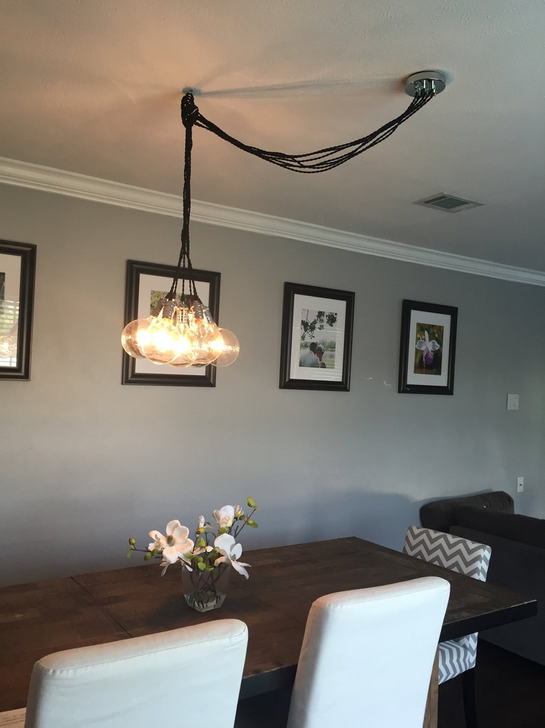 Swag cluster chandelier off center ceiling light dining room fixture custom 7 pendant chandelier dine table lighting