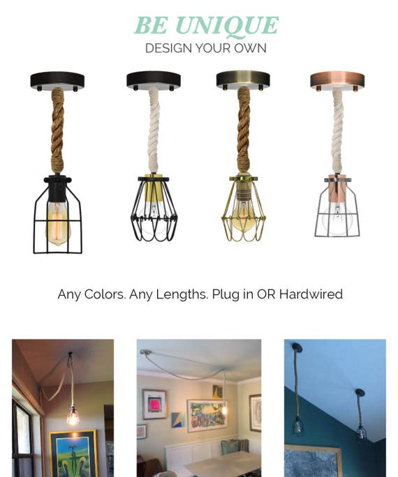 Just Reduced Rustic Handmade 3 Bulb Hanging Light Fixture Or: Rope Cage Pendant Rustic Lighting Rustic Light Fixture