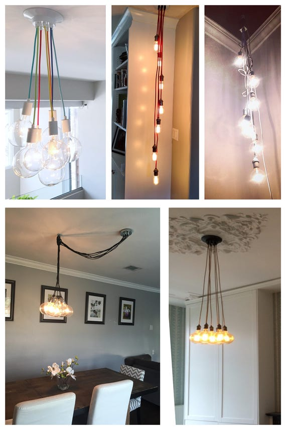 Multiple pendant lighting fixtures Contemporary Led Light Image Bagetyinfo Pendant Light Cluster Many Colors Any Length Multi Etsy