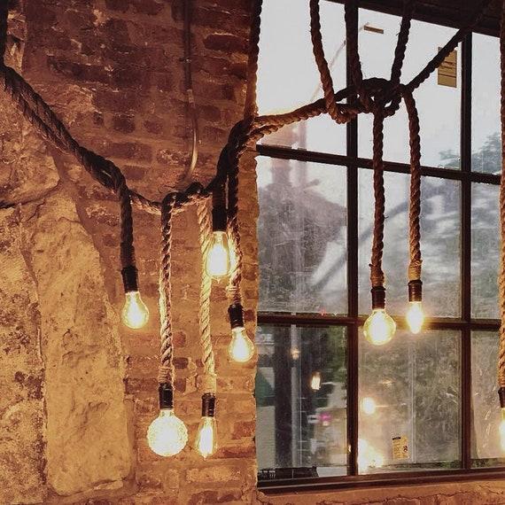 Rustic Rope Pendant Lights Custom Handmade Lengths Antique Edison Restaurant Lighting or LED Bulbs Unique bar lighting Manila Rope