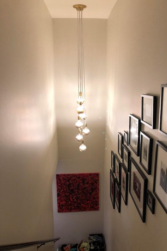 Merveilleux Stairway Lighting Long Cascading Foyer Chandelier 7 Cluster | Etsy