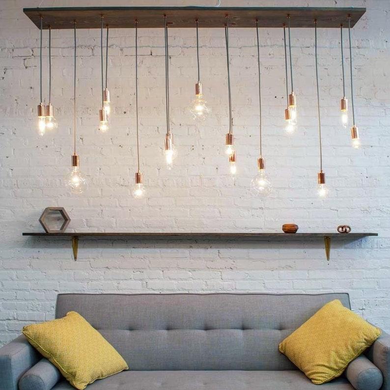 Modern Wood Chandelier - 17 Pendant Lights Long Wood Industrial Modern  Lighting Clear White LED Bulbs Dining Chandelier
