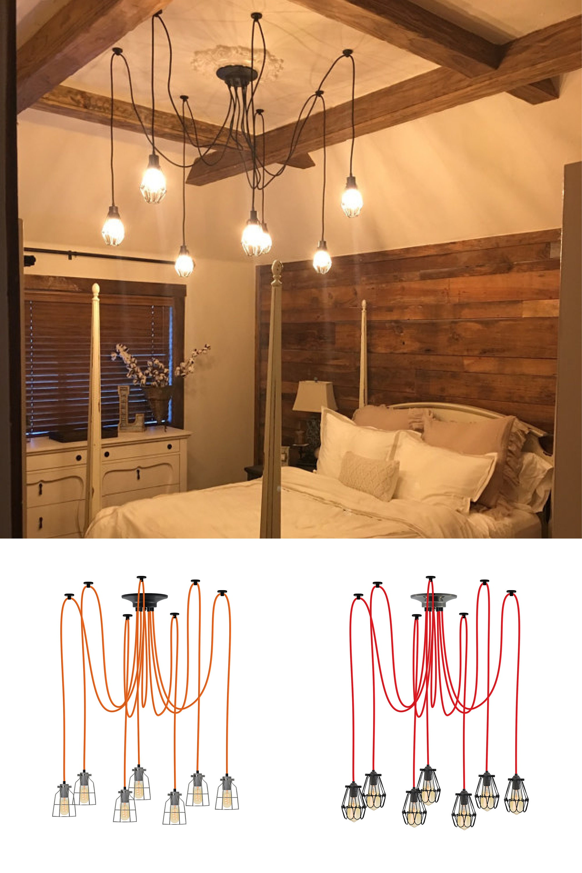 Rustic Bedroom Chandelier 7 Shabby Chic Caged Pendants Vintage Etsy