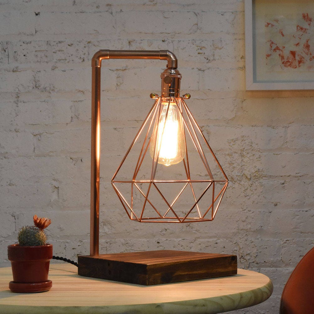 Copper Table Lamp Wood Base Diamond Copper Cage Modern Etsy