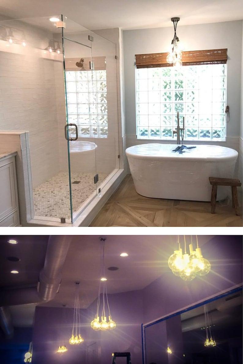 Bathtub bubble chandelier 5 led light hanging pendants ceiling fixture modern bathroom lighting fixture glass globes grape cluster