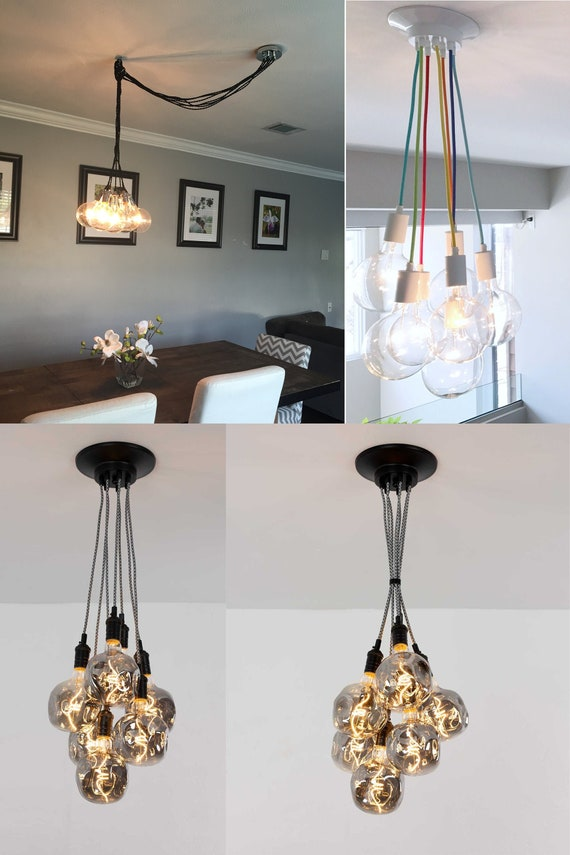 Tinted Mixed Glass Geo 7 Light Chandelier