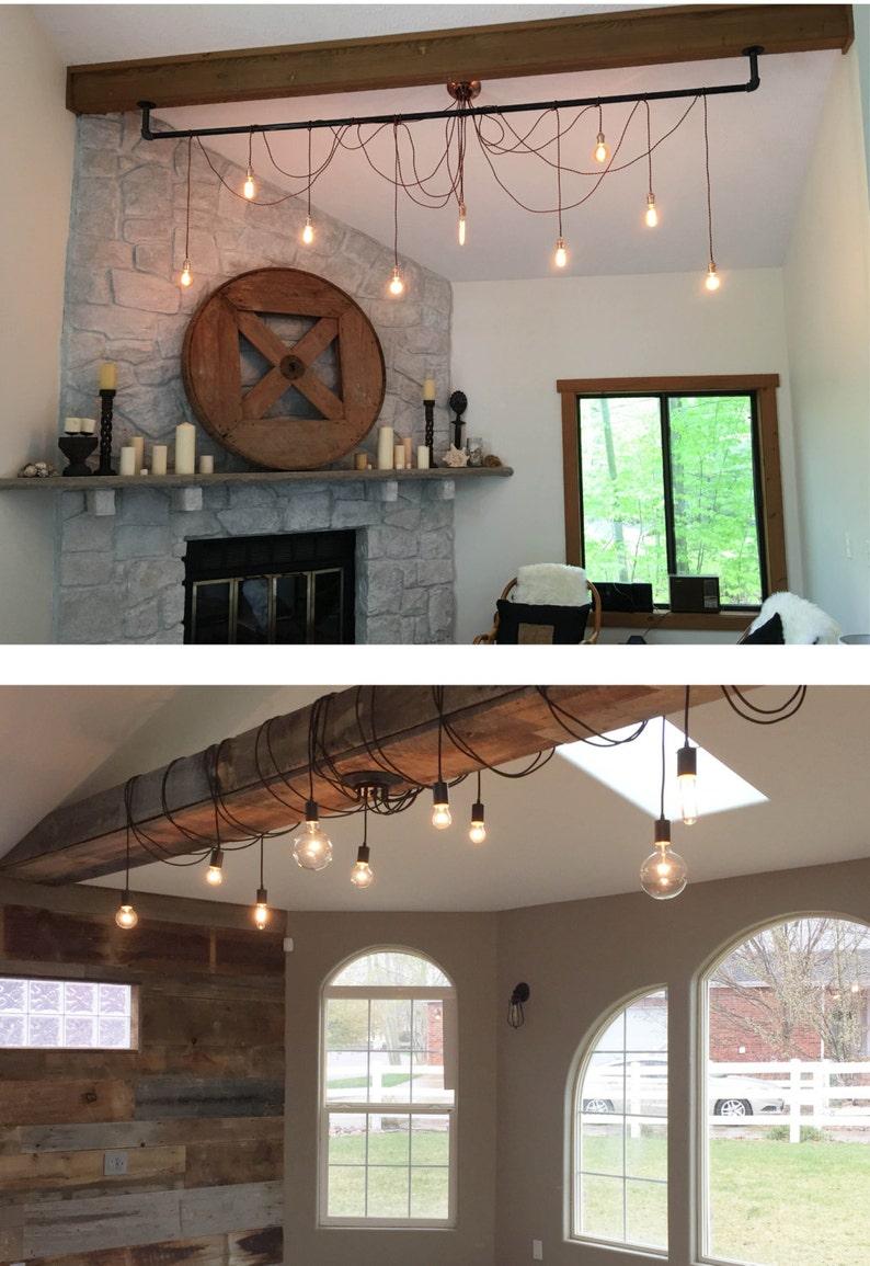 9 Pendant Light Pipe Wrap Chandelier Rustic Living Room image 0