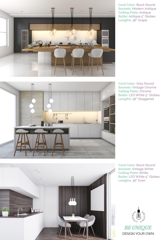 Moderne Küche Beleuchtung 3 helle Cluster jede Farben | Etsy