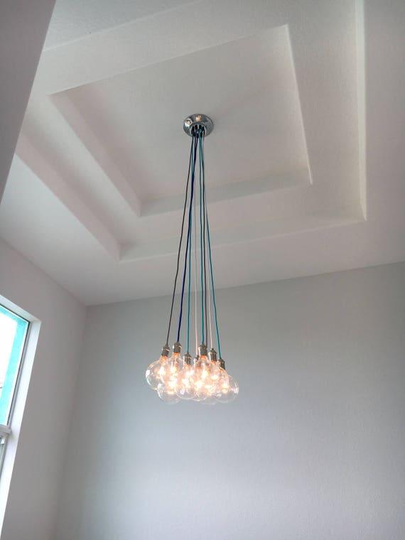 free shipping 69b28 43060 Foyer Chandelier - Custom Long Pendant Lights - Multi 9 Pendant Light  Cluster - Modern Chandelier Hanging Light Fixture - Entryway Chadelier