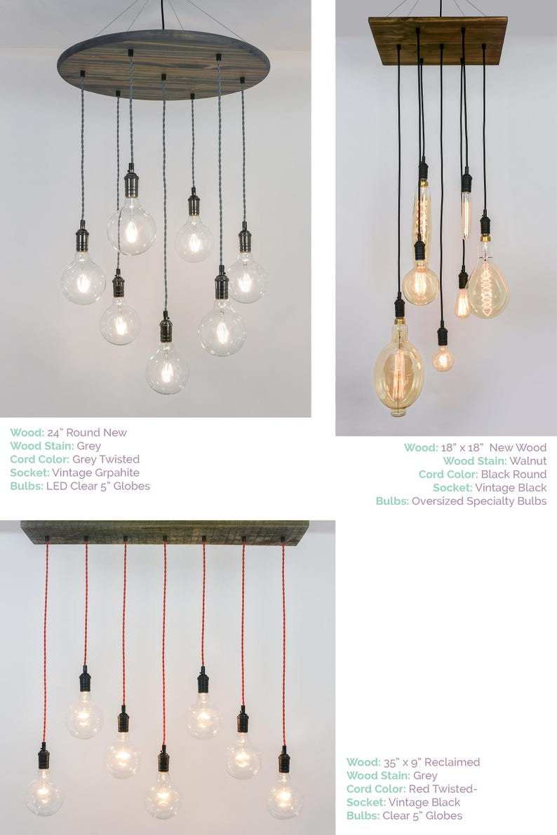 round wood hanging lighting Modern Wood Chandelier Custom made any colors small dining chandelier 7 modern LED glass globe pendants