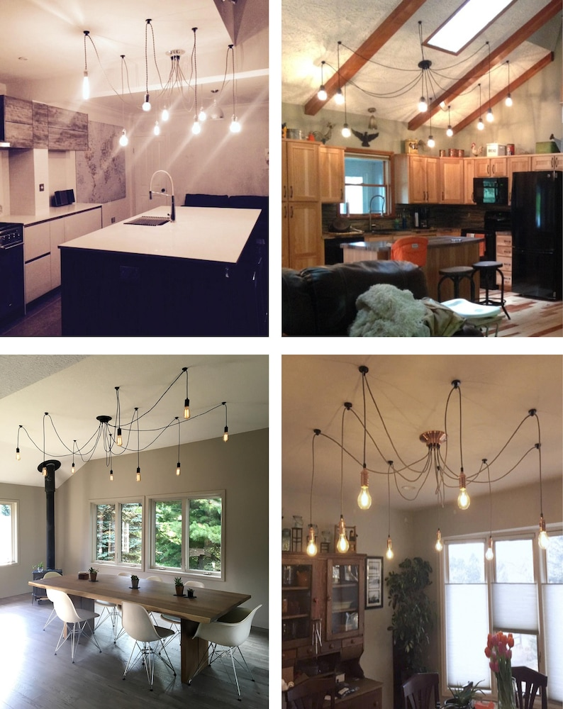 Modern Pendant Light Kitchen Island Chandelier 9 Light   Silver Chrome  Nickle Black White Spider Chandelier Many Lights Kitchen Lighting