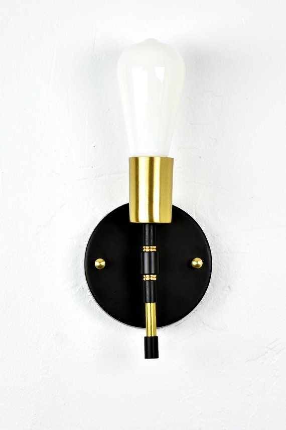 new product 3d84f 7e687 Modern Brass Torch Wall Sconce - Single Lamp - Wall Fixture - Vanity Light  - Bathroom Kitchen Restaurant - Small Wall Lamp - Black and Brass