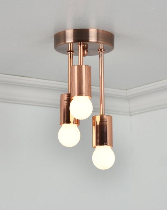 Copper Ceiling Light Triple Flush Mount Three Bulb Ceiling Etsy