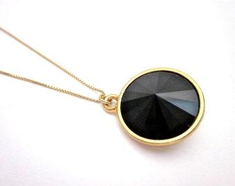 Black & Gold Necklace, Black Crystal Drop Necklace, Jet Swarovski Necklace, Jet Black Pendant, Black Crystal Pendant Necklace, Black Pendant