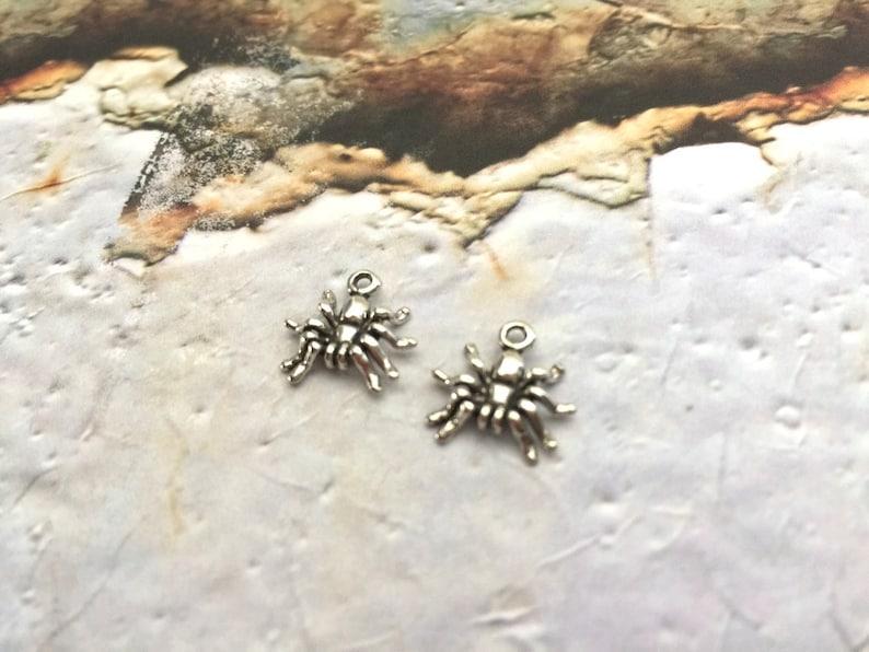 10 pce Black Metal Spider Charm Pendants 18mm x 14mm  Jewellery Making Craft