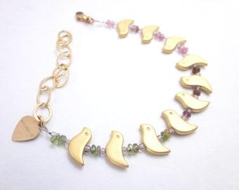 Tourmaline Bracelet, Tourmaline & Gold Jewelry, Women's Bird Jewelry, Bird Bead Bracelet, Tourmaline Bead Bracelet, Pink Green Gold Bracelet