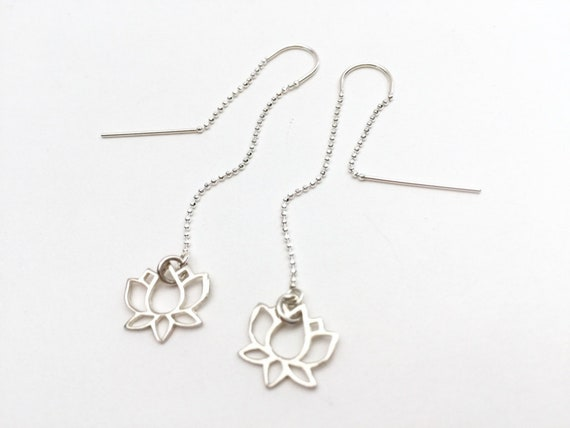 sterling silver lotus dangle earrings Lotus earrings sterling silver lotus threader earrings pull through earrings
