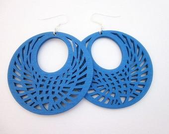 Blue Hoop Earrings, Fun Blue Earrings, Big Blue Earrings, Women's Blue Wood Jewelry, Blue Wood Dangle Earrings, Blue Wooden Earrings, Gift