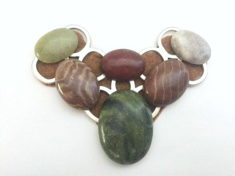 Gem Collage Pendants Jasper Stone Pendant Women/'s Large Pendant Bib Pendant Green Brown Stone Pendant Large Cabochon Stone Pendant