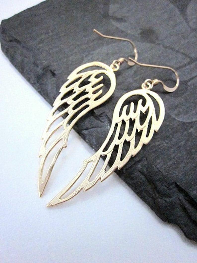 Angel Wing Gift Angel Wing Earrings Gold Angel Wing Earrings Wing Earrings Gold Wing Jewelry Wing Dangles Guardian Angel Earrings
