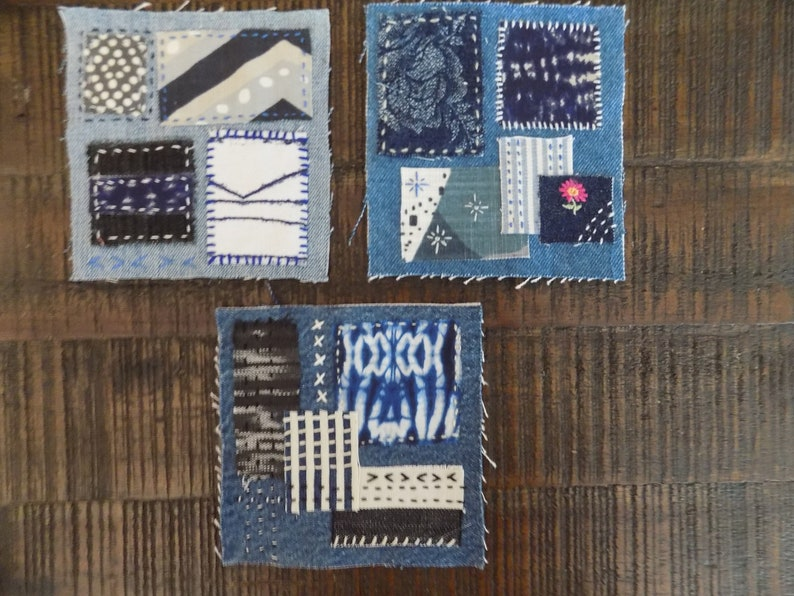 Individual Fabric Pieces Embroidery Thread Needle Blue Sewing Craft DIY Boro Sashiko Inspired Slow Stitch Complete Easy Patch Making Kit 30