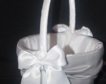 White or Ivory   Wedding Flower Girl Basket Grey  Accent