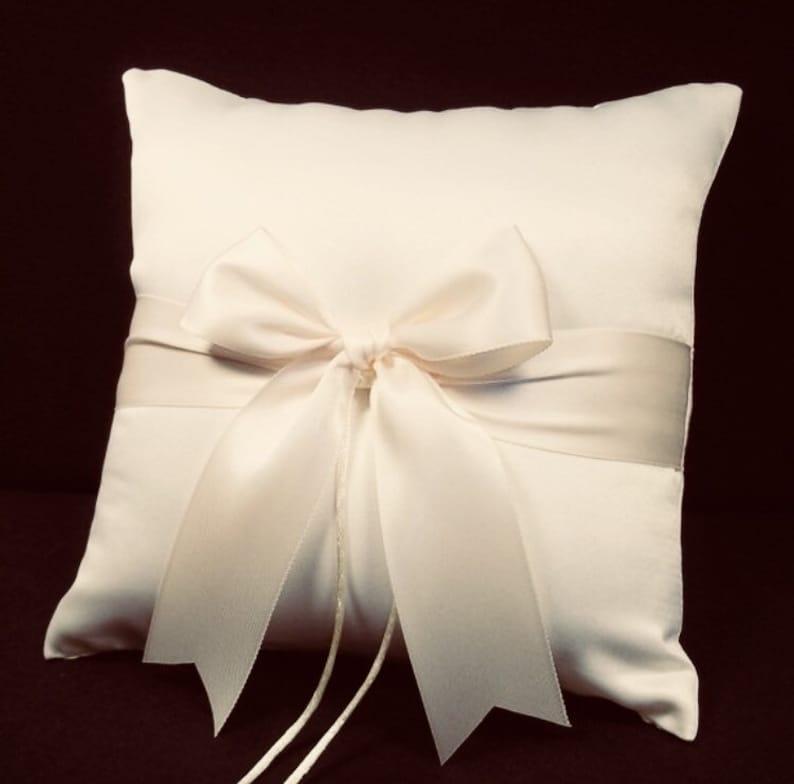 Ivory or White Wedding Ring Bearer Pillow  Fast & Free image 0