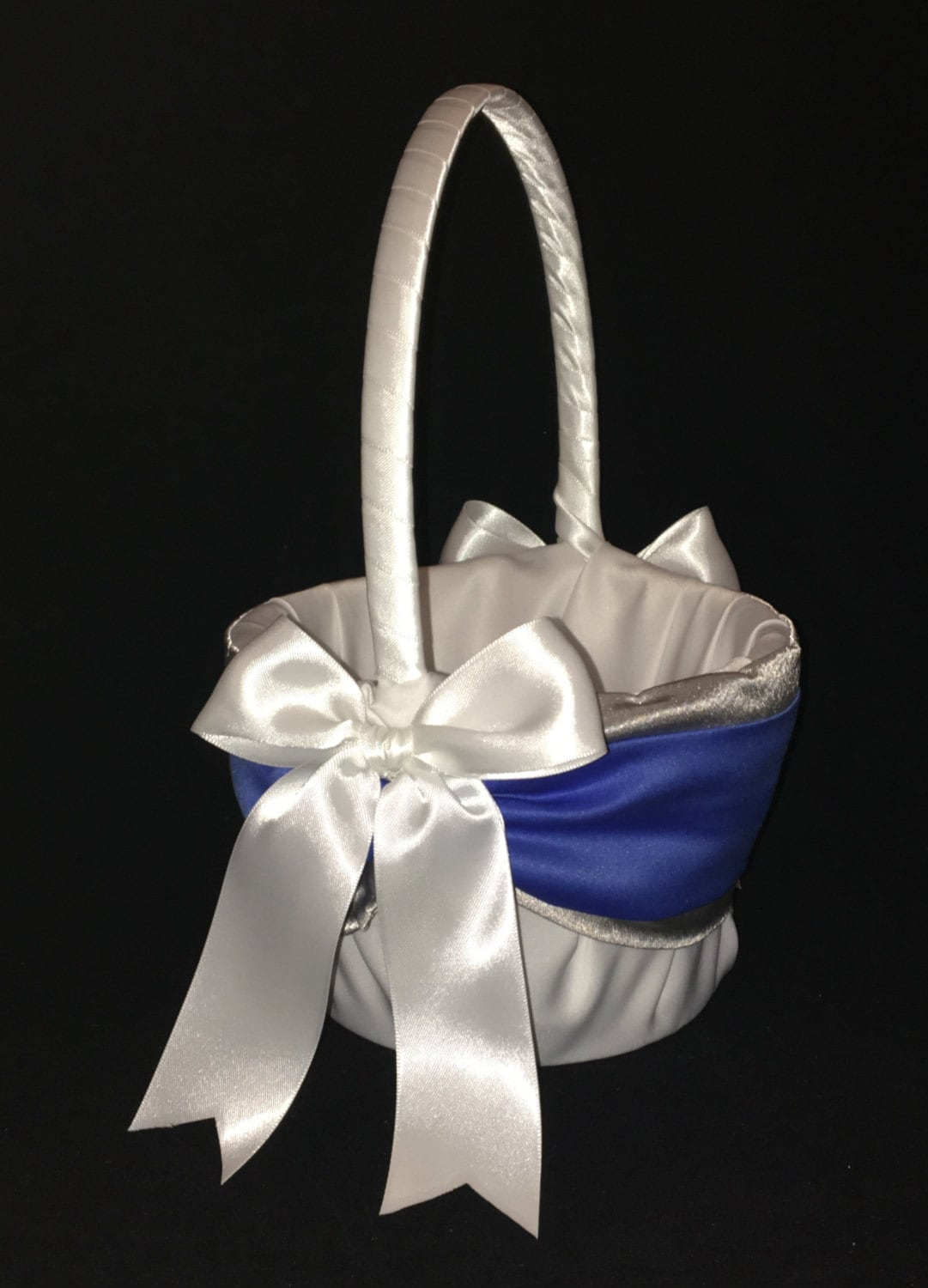 Royal Blue And Silver Accent Wedding Flower Girl Basket White Or Ivory
