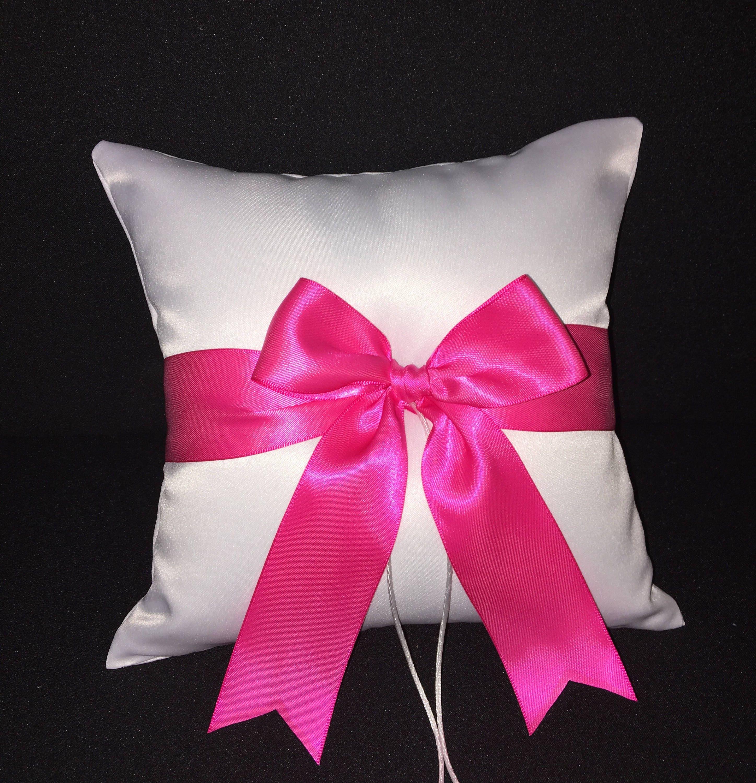 Hot Pink Fuchsia Bow Ivory or White Wedding Ring Bearer | Etsy