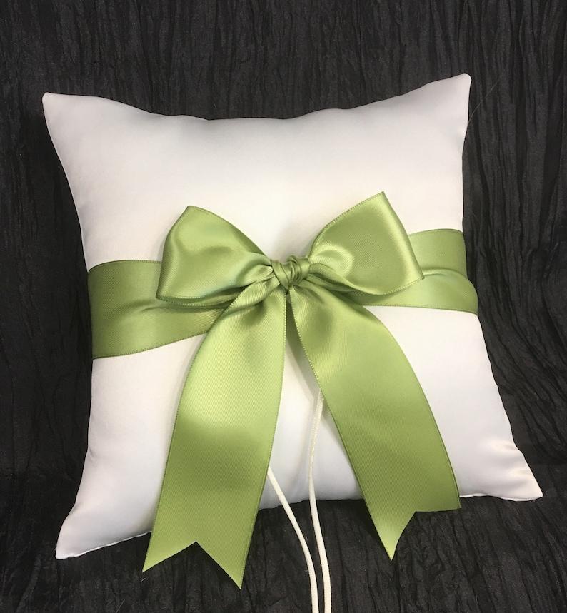 Lime Green Accent Wedding Ring Bearer Pillow White or Ivory Ring Pillow Kiwi