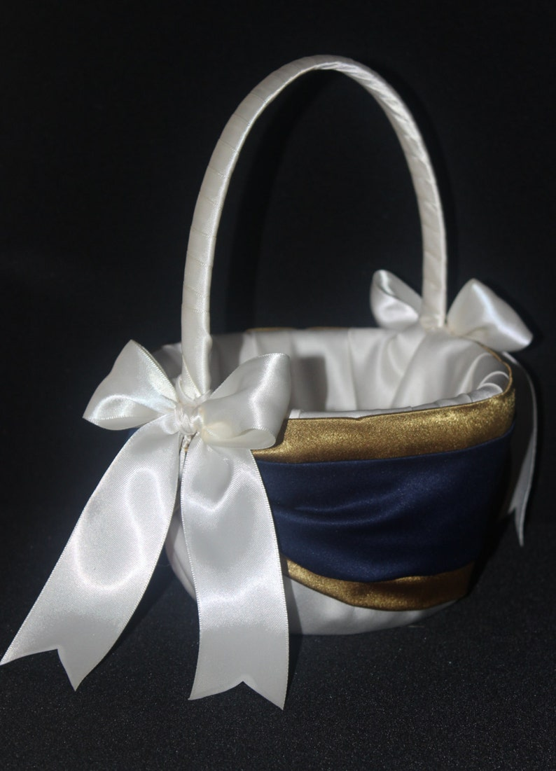 White or Ivory Wedding Navy Blue /& Gold Flower Girl Basket 250 Custom Colors Available