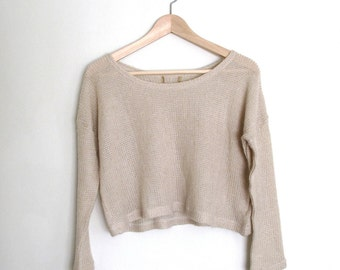 Cream Cropped Knit Sweater S/XS