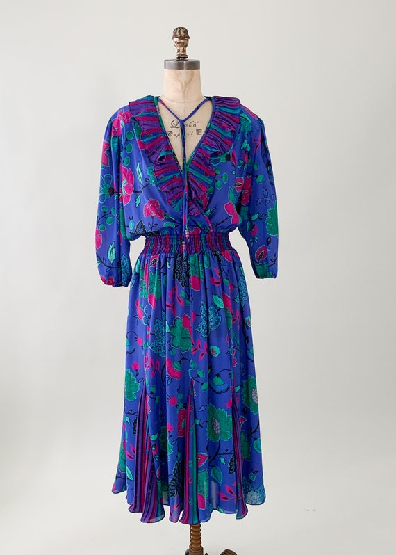 Vintage 1980s Floral Ruffle Dress - image 7