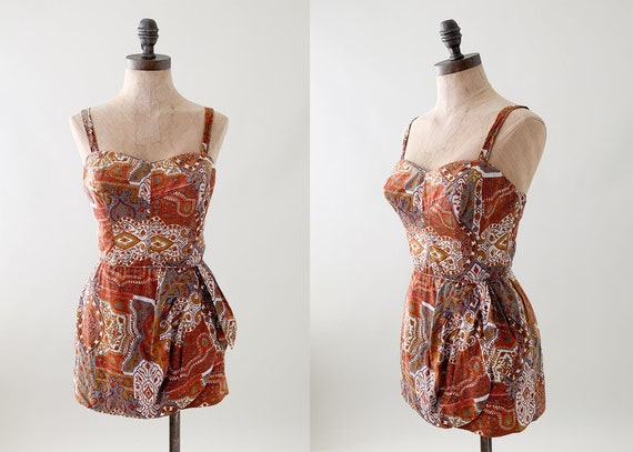 1950s Tiki Print Sarong Swimsuit Playsuit