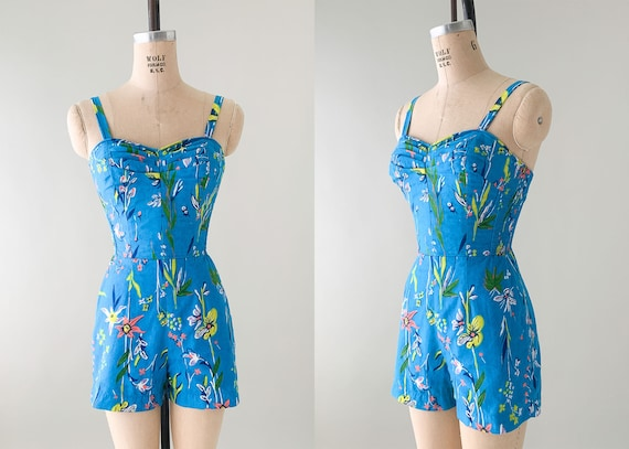 Vintage 1960s Floral PlaySuit Swimsuit