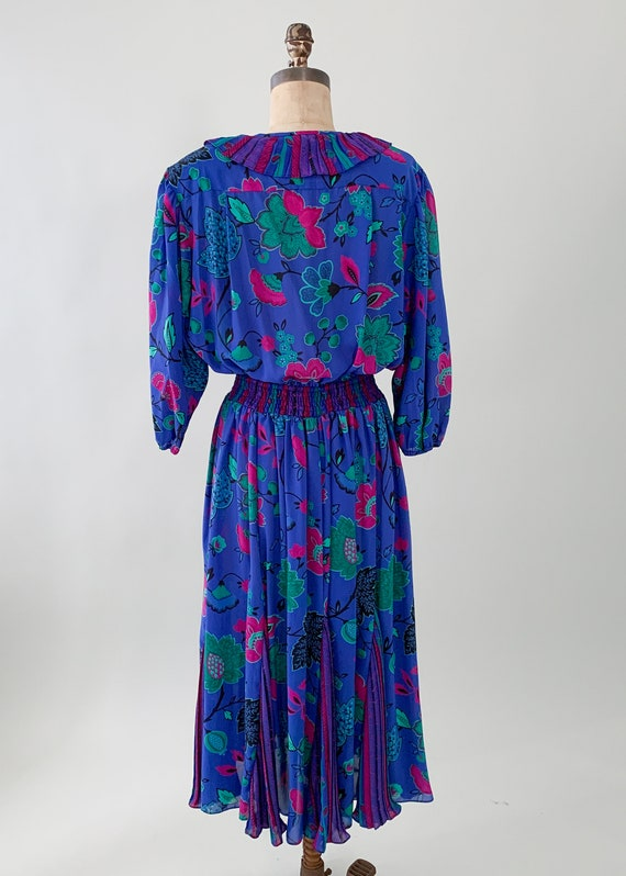 Vintage 1980s Floral Ruffle Dress - image 9