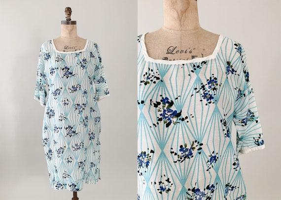 1980s Silk Floral Tunic Dress