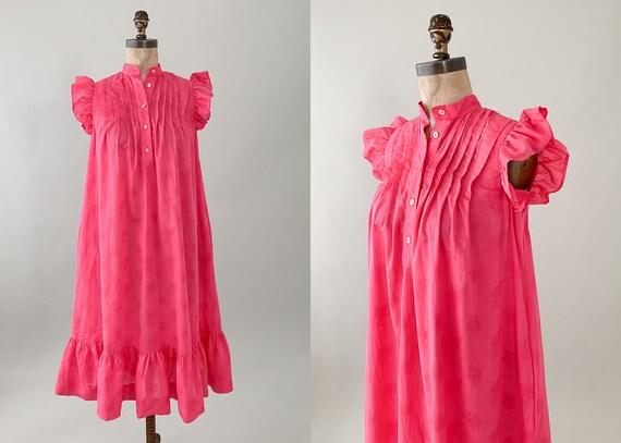 Vintage 1980s Pink Cotton Ruffle Tent Dress