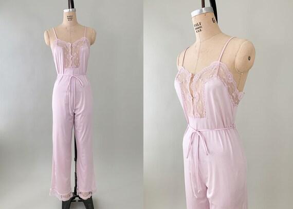 1970s Nylon Lounging Jumpsuit Pajamas