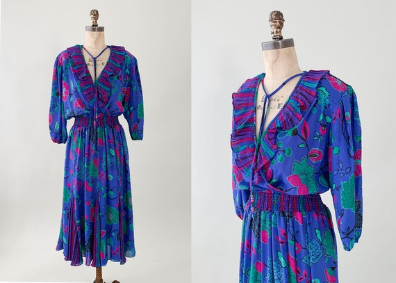 Vintage 1980s Floral Ruffle Dress