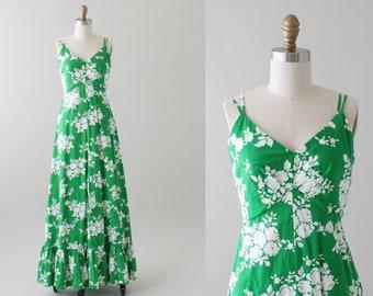 Vintage 1960s Floral Hawaiian Print Maxi Dress
