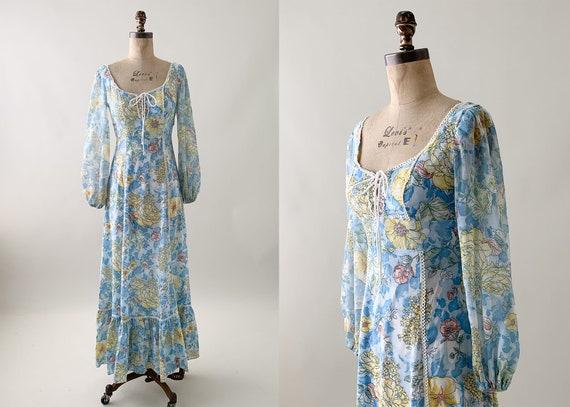 Vintage 1970s Floral Praire Maxi Dress