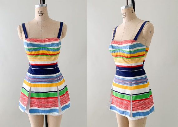 1960s Gabar Striped Cotton Playsuit