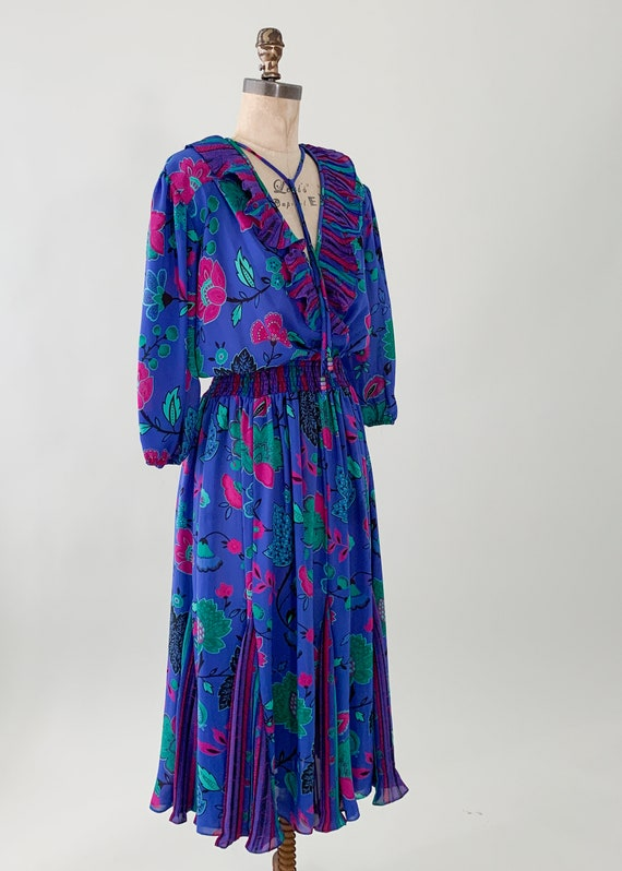 Vintage 1980s Floral Ruffle Dress - image 6