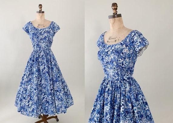 Vintage 1950s Jerry Gilden Blue Floral Dress