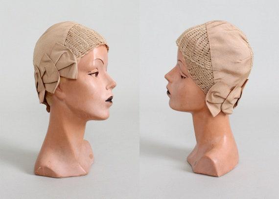 Vintage 1920s Summer Sand Fabric Cloche Hat