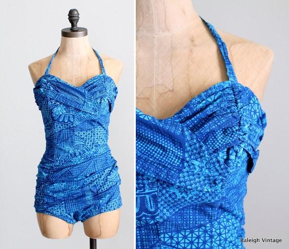 Vintage 1950s Swimsuit : 50s Catalina Tiki Bombshe