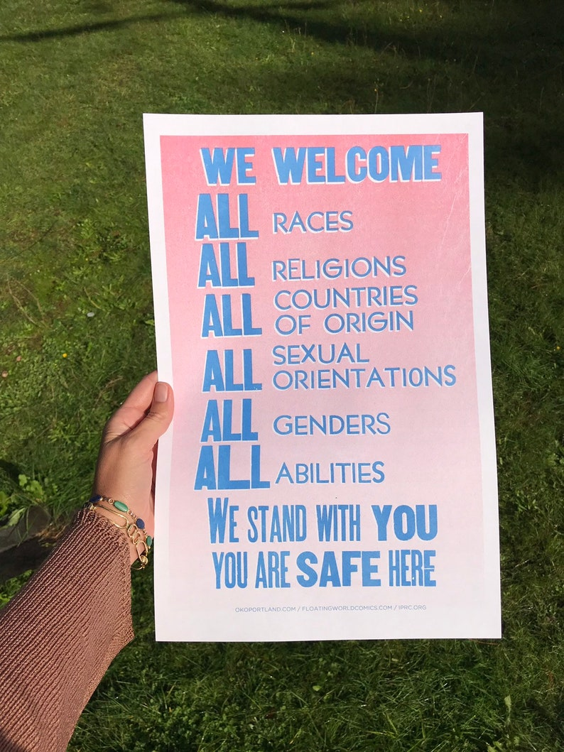 WE WELCOME ALL Poster  blue and pink risograph edition image 0