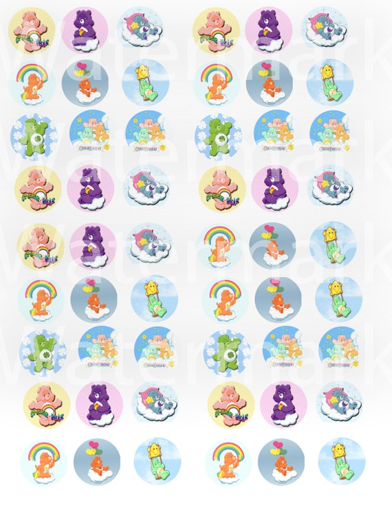 Carebears Bottle Cap images precut images necklace images,1in circle images